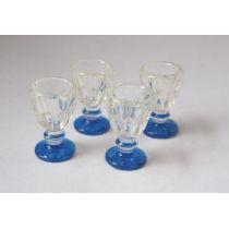 Mini Weinglas 4er Set  Puppenhaus Dekoration Miniaturen 1:12