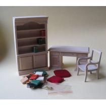 Modernes Arbeitszimmer Natur Puppenhausmöbel 1:12