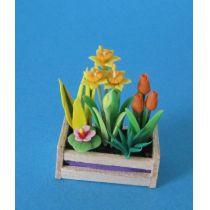 Narzissen und Tulpen im Blumenkasten Puppenhaus Dekoration Miniatur 1:12