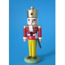 Nussknacker König rot 7,5 cm Miniatur Holz Handarbeit Erzgebirge Seiffen