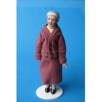 Oma Großmutter im rosé Kostüm Puppe  Miniatur 1:12