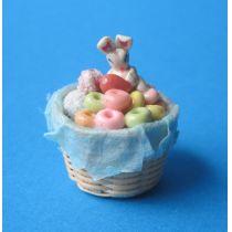 Osterkorb mit Bonbon Osterhase Puppenhaus Miniaturen 1:12