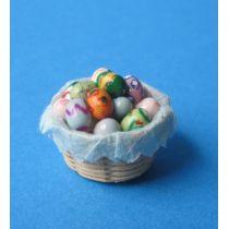 Osterkorb mit bunt bemalten Eiern Puppenhaus Miniaturen 1:12