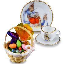 Osterkorb und Kaffeegedeck Puppenhaus Deko Miniaturen 1:12