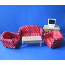 Polstergarnitur rot Sofa Sessel Tisch Kommode  Puppenmöbel Miniatur 1:12