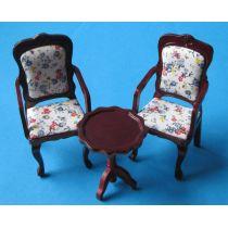 Polsterstuehle und Tisch 3 Teile braun Puppenhausmöbel  Miniaturen 1:12