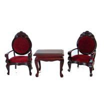 Polsterstuehle und Tisch 3 tlg. braun-rot Puppenhausmöbel Miniaturen 1:12