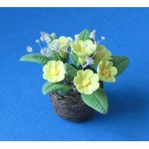 Primeln im Topf gelb Frühlingsblumen Puppenhaus Miniaturen 1:12