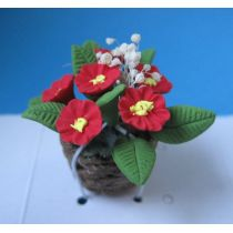 Primeln im Topf rot Frühlingsblumen Puppenhaus Miniatur 1:12