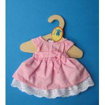 Puppen Sommerkleid rosa mit weissen Punkten für Puppen 35-40cm