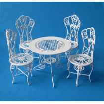 Puppenhaus Gartenmöbel Set Tisch 4 Stühle Metall Miniaturen 1:12