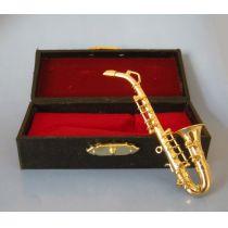 Puppenhaus Saxophon goldfarben im Koffer  Musikinstrument Miniaturen 1:12