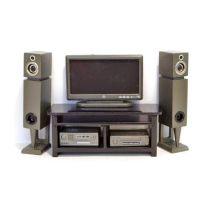 Puppenhaus TV Hifi Stereoanlage schwarz 6 Teile  Miniaturen 1:12