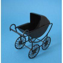 Puppenwagen schwarz Metall für die Puppenstube Miniaturen 1:12