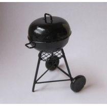 Rundgrill Barbeque Grill schwarz Metall Puppenhaus Miniatur 1:12