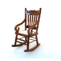 Schaukelstuhl braun Puppenhaus Möbel für die Puppenstube 1:12