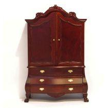 Schrank Cabinet braun gross 2 Türen Puppenhausmöbel Miniatur 1:12