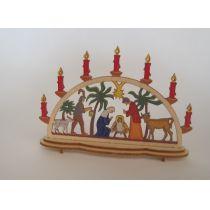 Schwibbogen Krippe bunt Fensterschmuck im Puppenhaus Miniaturen 1:12