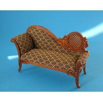 Sofa Chaiselong braun Louis PhilippePuppenhaus Möbel  Miniaturen 1:12