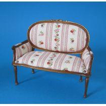 Sofa Chaiselong rosa geblümt Louis XVI Puppenhaus Möbel  Miniaturen 1:12