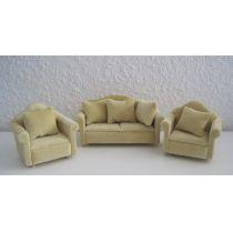 Sofa und 2 Sessel beige Puppenmöbel Miniatur 1:12
