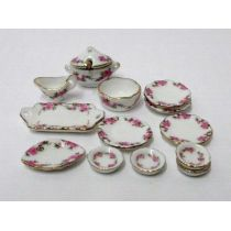 Speiseservice Rose Porzellan rosa Blumenmuster 14 Teile Puppenhaus Miniatur 1:12