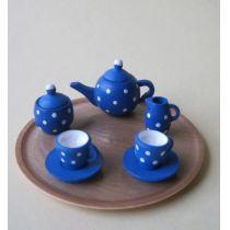 Teeservice blau mit weisse Punkte und Tablett Puppenhaus Miniatur 1:12