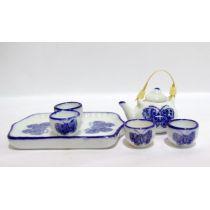 Teeservice blauer Schmetterling Puppenhaus Miniatur 1:12