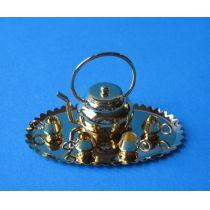 Teeservice goldfarben 6 Teile für Puppenhaus Miniatur 1:12