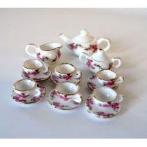 Teeservice Rose Porzellan rosa Blumenmuster 17 Teile Puppenhaus Miniatur 1:12