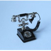 Telefon schwarz Puppenhaus Miniaturen 1:12