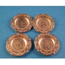 Teller 4 Stück silberfarben  für Puppenhaus Miniatur 1:12