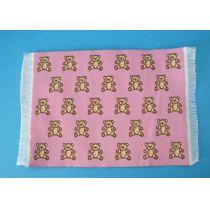 Teppich Teddy rosa rot 16,5 x 10 cm Puppenhaus Miniaturen 1:12