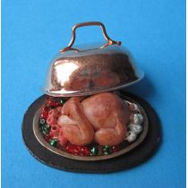 Truthahn auf Platte mit Deckel Puppenstuben Deko Miniatur 1:12