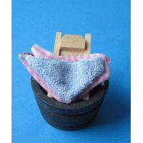 Wanne mit Wäsche Waschbrett Puppenhausmoebel Miniaturen 1:12