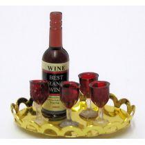 Weinflasche und 4 Gläser auf Tablett Puppenhaus Miniaturen 1:12