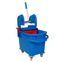 Aura Vera blue Kunststoff Eineimer Wischwagen mit Profi Presse, mit Inneneimer für Schutzwasser