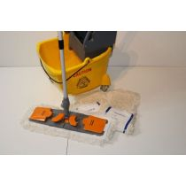 CleanSV® Profi Wischset Laschenmop 40 Spr gelb, PE Putzeimer mit 4 Rädern, Moppresse, 3 Laschenmop 40 cm