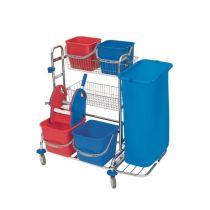 CleanSV Reinigungsset verchromt: 4 Eimer, Moppresse, 2 Körbe, Variante: 1 x 120l Müllsackhalter