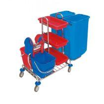 CleanSV® verchromter Wagen mit Moppresse und Ablage - Müllsackhalter 2 x 120l