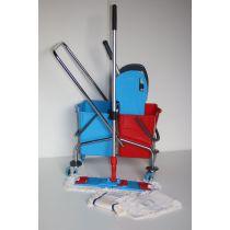 CleanSV® Wischset chrom Laschenmop 50 cm Lamo --- Putzen ohne bücken der Mop bleibt am Halter ---