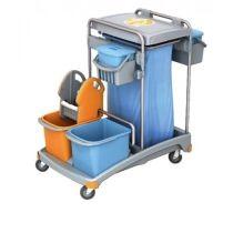 Reinigungswagen mit 4 Eimern, Moppresse, Plastikbasis und 2 Ablagekörben