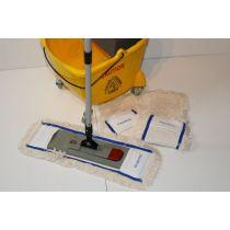 Wischset CleanSV gelb 40 - 24 Liter, PE Putzeimer mit 4 Rädern und Moppresse, 3 CleanSV Baumwollmops 40 cm
