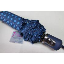 Automatik Regenschirm blauer Taschenschirm Dots Punkte Rüschen