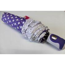 Automatik Regenschirm lila Taschenschirm Dots Punkte Rüschen