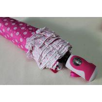 Automatik Regenschirm pinker Taschenschirm Dots Punkte Rüschen