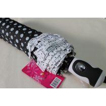 Automatik Regenschirm schwarzer Taschenschirm Dots Punkte Rüschen