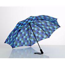 EUROSCHIRM Swing liteflex blau karierter Regenschirm Trekking