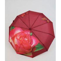 geblümter Regenschirm Automatik Taschenschirm weinrot Damenschirm Susino 0312F