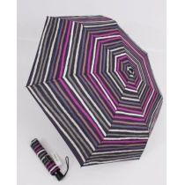 Happy Rain Automatik Regenschirm lila gestreifter Taschenschirm 46857